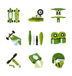 Green flat icons for longboard accessories vector