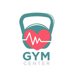 gym center logotype design with kettlebell and vector image