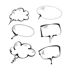 hand-drawn clouds for part of speech text dialog vector image