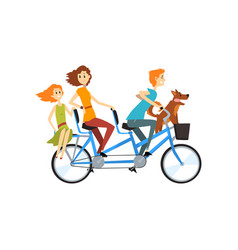 Happy family riding on long tandem bicycle vector