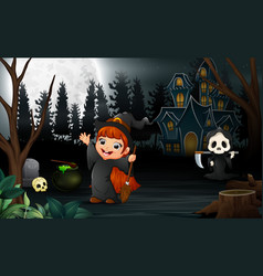 happy halloween with grim reaper and the witch gir vector image