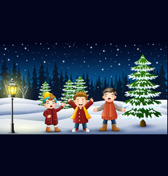 happy kids playing in winter landscape at night vector image