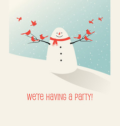 holiday winter scene with snowman and bird friends vector image