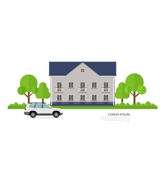 house with car vector image