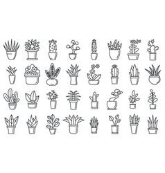 Houseplants flower icons set outline style vector