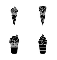 Ice cream on a stick in a waffle cone and other vector