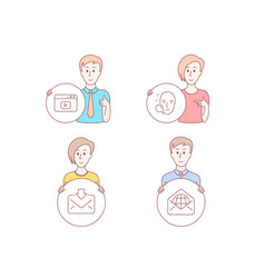 Incoming mail video content and face search icons vector