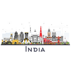 India city skyline with color buildings isolated vector
