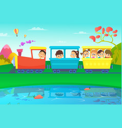Kids driving a train in fairytale world vector
