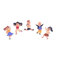 kids jump cartoon happy cute preschool children vector image