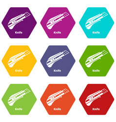 Knife icons set 9 vector