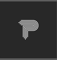 letter p logo monogram smooth thin lines curved vector image