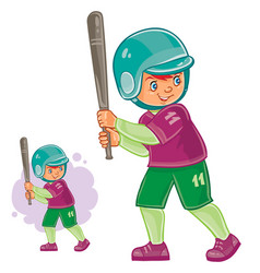 Little child playing baseball vector