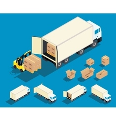 Loading cargo in the truck isometric vector image