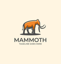 logo mammoth walking mascot cartoon vector image