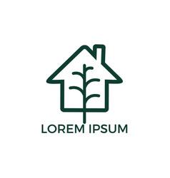 minimalist logo of house and tree leaf vector image