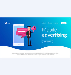 mobile advertising concept businessman or manager vector image