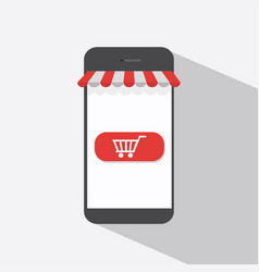 mobile shopping flat design vector image