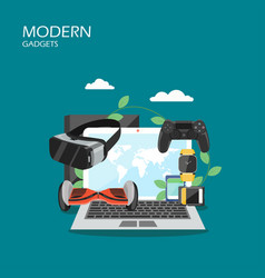 modern gadgets flat style design vector image