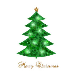 new year s card with christmas tree vector image