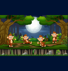 night scene with many monkey in forest vector image