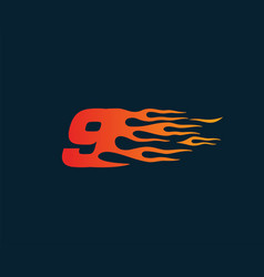 Number 9 fire flame logo speed race design vector