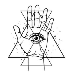 Open hand with all seeing eye symbol vector