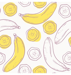 Outline stylized seamless pattern with banana vector image