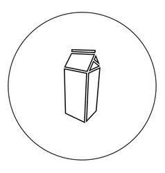 package for milk icon black color in circle vector image