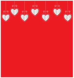 Paper hearts Valentine card on red background vector image