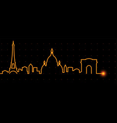 Paris light streak skyline vector