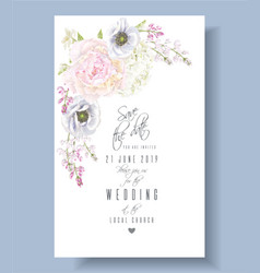 Peony anemone save the date vector