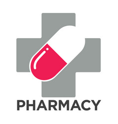 Pharmacy or drugstore cross and pill vector