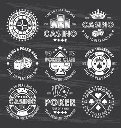 Poker and casino white gambling emblems on dark vector