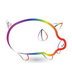 Rainbow pig outline icon vector