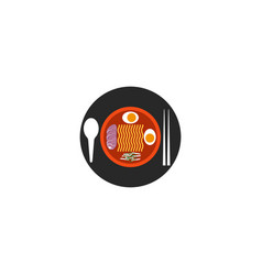 Ramen soup round logo in minimal style top view vector