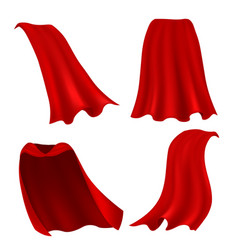 Red cape realistic draped scarlet cloak front vector