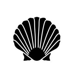Scallop shell black glyph icon vector