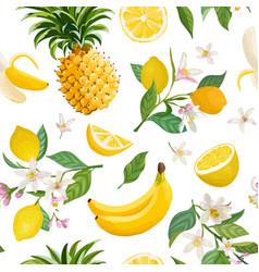 seamless fruit pattern lemon banana pineapple vector image
