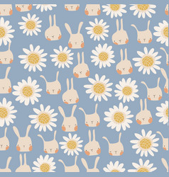 seamless pattern cute cartoon bunnies and vector image