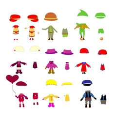 set of childrens clothes design elements vector image