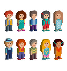 Set of cute pixel art style isometric characters vector