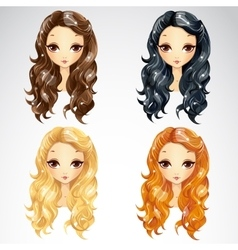 Set Of Wave Long Hair Styling vector