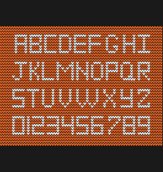 set of white knitted alphabet and numerals o vector image