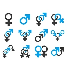 Sexual Relation Symbols Flat Icon Set vector image