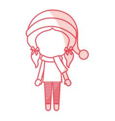 Shadow christmas little girl vector