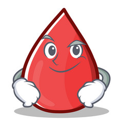 Smirking blood drop cartoon mascot character vector