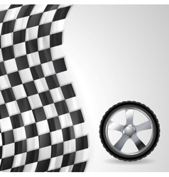 Sport background with wheel and finish flag vector