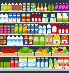 Store shelves with products vector