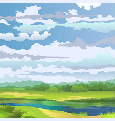 Summer landscape with river vector